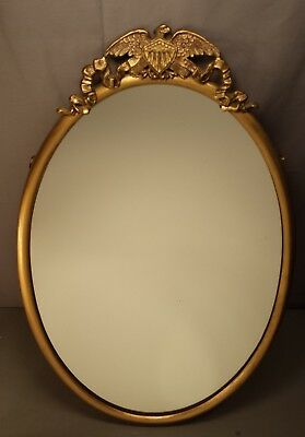 Antique USA Eagle with Shield Oval Picture Frame Patriotic Wall Mirror Very Nice