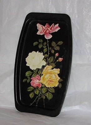 Vintage Tin Litho Elite Made in England Floral Rose Flower Tray w/ Tag