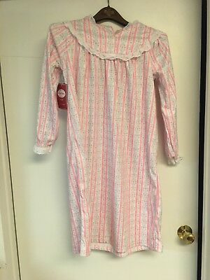 d18ffc1571 NWT Lanz of Salzburg PINK PASTEL Tyrolean Flannel Lace Nightgown girls M  7 8 NEW
