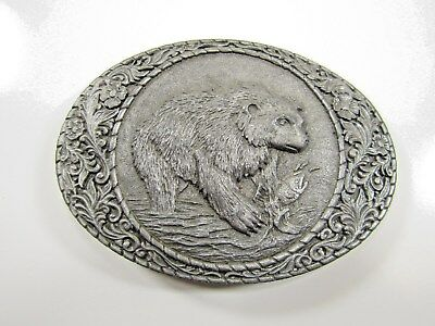 Vintage Indiana Metal Craft Grizzly Catching Salmon Belt Buckle