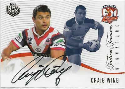 2018 Nrl Glory Future Famers Signature (FFS 12) Craig WING Roosters 044/420