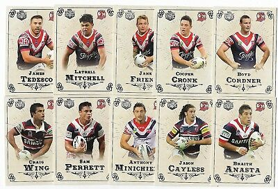 2018 NRL Special Edition Glory Sydney ROOSTERS 12 Card Team Set