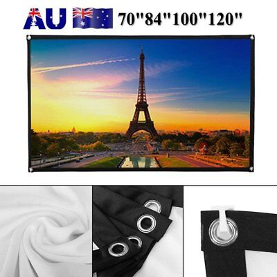 "70/84/100/120"" Projector Screen 16:9 HD Home Cinema Outdoor Projection Foldable"