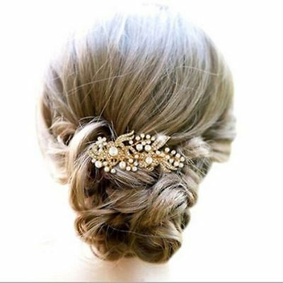 Wedding Bridal hair Accessories Gold Hair Comb Pearls Clip Pin Bridal Bride