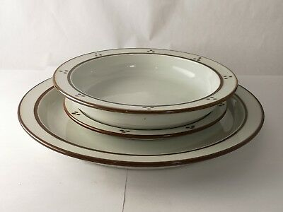 THREE Pieces of Dansk Denmark Fredriksborg Brown Dinner Bread Plate & Soup Bowl