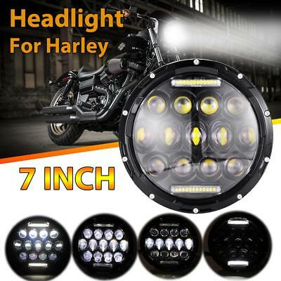 "1PC 7"" INCH 75W LED Headlight Motorcycle Driving Hi-Lo Beam DRL Light For Harley"