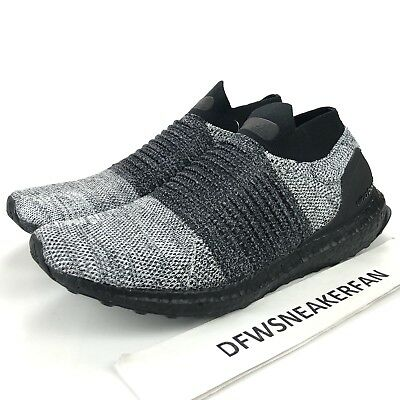 45d0a932fde8f Adidas UltraBOOST Laceless Men s Size 7.5 Core Black Grey Running Shoes  BB6137