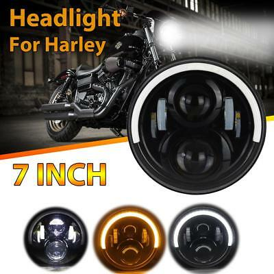 1PC 7'' 60W LED Headlight Motorcycle Driving Half Halo High-Low Beam For Harley