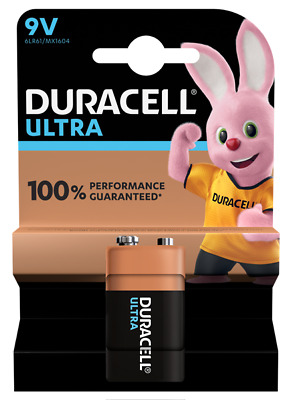 1 x Duracell 9V PP3 Ultra Power Alkaline Batteries, Smoke Alarms, LR22, MX1604