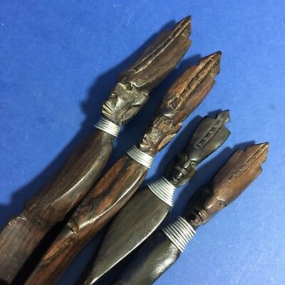 No 1022, 4 GORGEOUS AFRICAN Antique Hand Carved Wood Figural Letter Openers