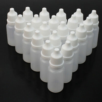 50 x 10ml Empty Squeezable Plastic Dropper Bottles Eye Liquid Screw Cap Lids