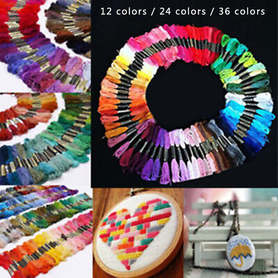Mix Multi Colors Threads Needlework Embroidery Crafts Cross Stitch Sewing Skeins