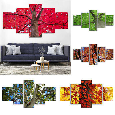 Green Red Maple Tree Canvas Print Painting Framed Home Decor Wall Art Poster 5P