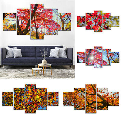 Red Maple Tree Canvas Print Painting Framed Home Decor Wall Art Poster 5Pcs