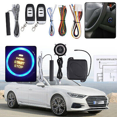 Car Alarm Smart Keyless Entry Start Push Button Remote Ignition Starter Stop Kit
