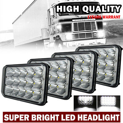 """DOT 4x6"""" inch 15-LED Headlights HID Replace H4656/4651 High / Low Beam 45W-Qty4"""