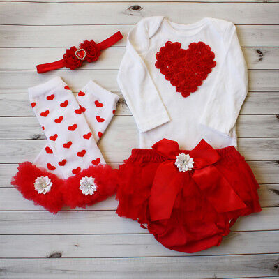 USA Newborn Kid Baby Girl Valentine's Day Outfit Romper Tops Tutu Skirts Clothes