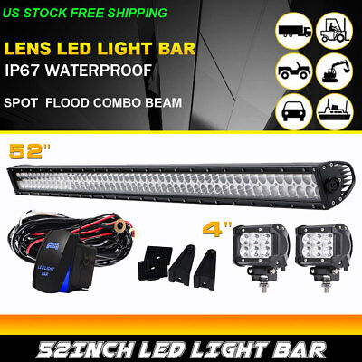 "52Inch LED Light Bar Combo +4"" PODS OFFROAD SUV 4WD Pickup FORD For JEEP 50"