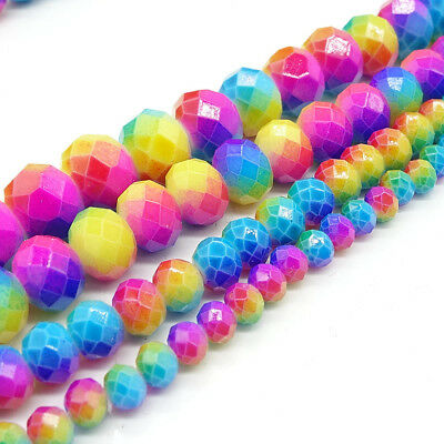 Rondelle Faceted Glass Charms Loose Spacer Beads Jewelry Findings 4/6/8/10mm #10