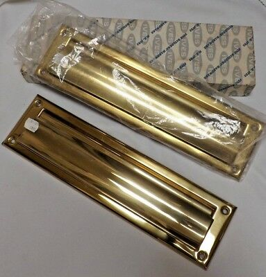 VINTAGE Brass MAIL LETTER SLOT DOOR & FRAME, Magazine Size, Inner Cover, UNUSED