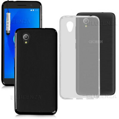 For Alcatel 1 5033X -Gel Silicone Rubber Case Cover Back Grip + Touch Stylus