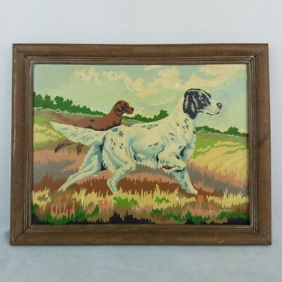 Vintage Paint By Number Hunting Dogs Scene 16 x 12 PBN Framed Art