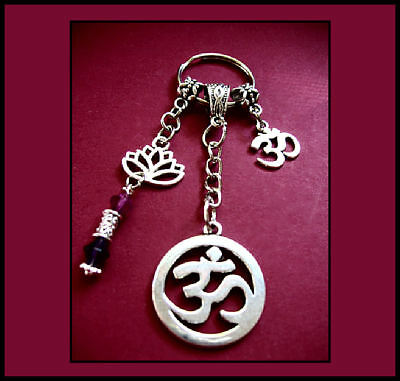 Om/lotus Flower Keyring