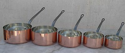 5 Copper Pots Made In  France/ Cast Iron Handles High Quality / 5 Pans