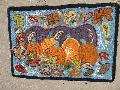 "Hand Made Primitive Style Hooked Rug pumpkins fall 27"" by 19"""