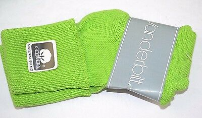 Vtg 80's One Pair VANDERBILT SPRINGFOOT Lime Green 6-8.5 Cuffed Socks