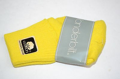 Vtg 80's One Pair VANDERBILT SPRINGFOOT Lemon Yellow 6-8.5 Cuffed Socks