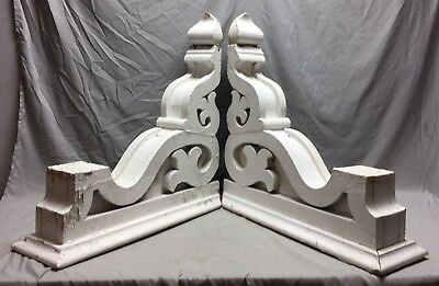 Pair Extra Large Antique White Roof Corbels Cornice Shabby Vtg Chic Old 23-19M
