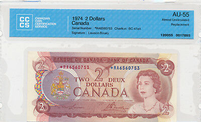 BANK OF CANADA REPLACEMENT 2 DOLLARS 1974 BC-47aA *RA6560753 - CCCS AU-55
