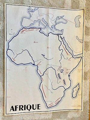 Vintage original antique french school map Africa mountains rivers