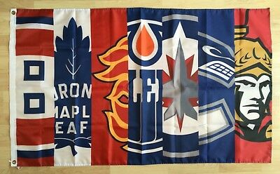 7 NHL Canadian Teams 3'x5' Polyester Flag Banner