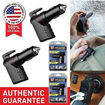 2x Black Stinger Plus: 3 in 1 USB Emergency Escape EDC Life-Saving Car Charger
