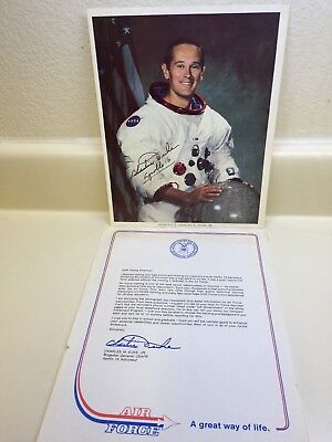 Charles M. Duke Jr.-NASA Astronaut Vintage Hand Signed Photo & Letter Apollo 16