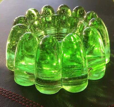 Victorian Pressed Moulded Green Glass Piano Insulator Rest Caster Cup