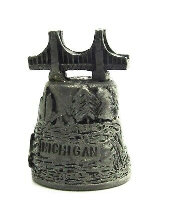 Michigan Hi-Relief Pewter Thimble Bridge Topper Old Car Deer Trees