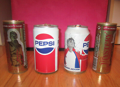 Michael Jackson 4 empty drink CANS official Mystery PEPSI 1984 victory tour
