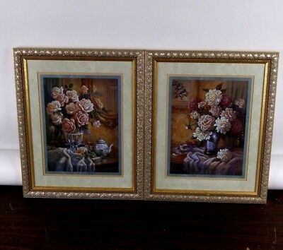 Vintage Home Interiors Floral Wall Pictures (2) Framed Matted Glass J. Gibson