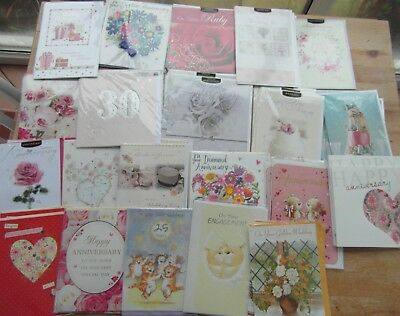 Job lot approx 40 greetings cards of wedding, anniversary cards
