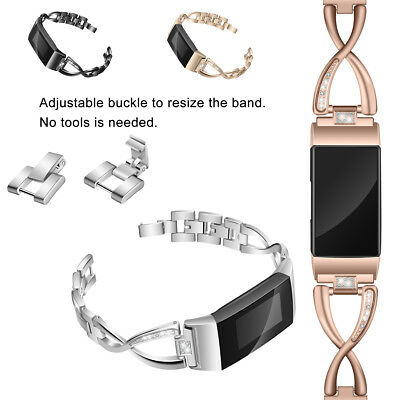 Stainless Steel Crystal Strap Band Replacement For Fitbit Charge 3 / 2