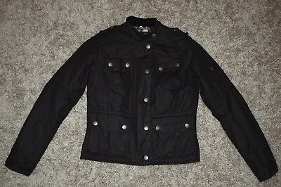 Barbour Intl SMU QUILTED UTILITY Waxed Jacket in Black - UK Size 8 [3011]