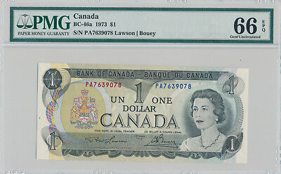 BANK OF CANADA 1 DOLLAR 1973 BC-46a PA7639078 - PMG 66 GEM UNC EPQ