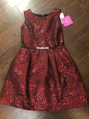 Amy Byer Big Girl's Red Black Rose Flower Bling Fit & Flare Party Dress Size 10