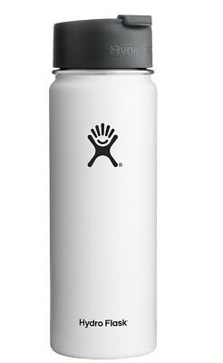 HYDRO FLASK 20 OZ Wide Mouth Flip Lid Vaccum Insulated Water Bottle -White