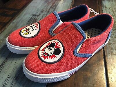 81c184886f1a67 New Kids Disney Junk Food Mickey Mouse Sneakers Red Denim Slip On Shoes  Size 3