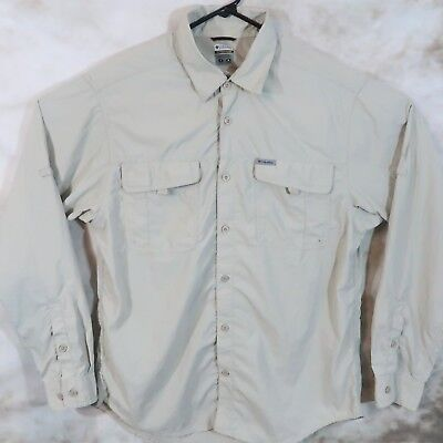 ff4ee00cfed Mens L Columbia Titanium Fishing Short Sleeve Button Front Pocket Vented  Shirt