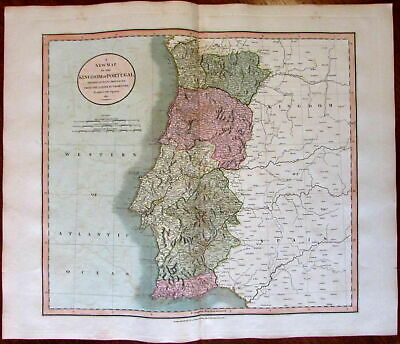 Portugal by itself showing provinces 1811 John Cary lovely large old color map